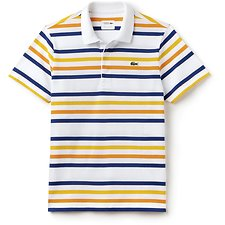 Image of Lacoste WHITE/MARINO-APRICOT-BUTT MEN'S LACOSTE SPORT STRIPE POLO