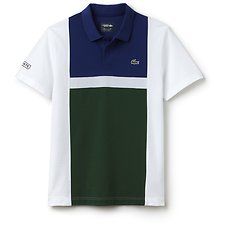 Image of Lacoste WHITE/OCEAN-GREEN MEN'S COLOUR BLOCK POLO