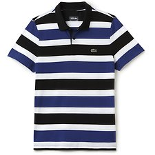 Image of Lacoste BLACK/OCEAN-WHITE MEN'S RUGBY STRIPE POLO