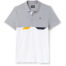 Image of Lacoste SILVER CHINE/WHITE-NAVY B MEN'S TENNIS COLOUR BLOCK POLO WITH TRIM